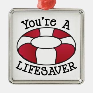 You're A Lifesaver Silver-Colored Square Ornament
