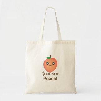 You're a Peach Sweet Kawaii Cute Funny Foodie Tote Bag