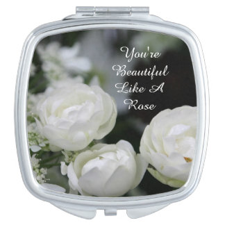 You're Beautiful White Rose Compact Mirror(square) Vanity Mirror