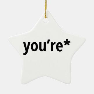 you're ceramic star ornament