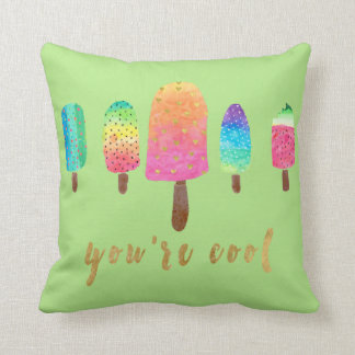 You're Cool 5 Popsicles Green Throw Pillow