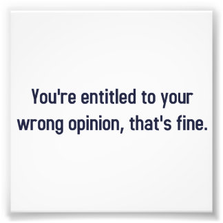 You're Entitled To Your Wrong Opinion, That's Fine Photo Print