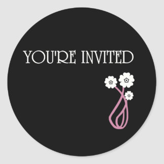YOU'RE INVITED FLOWERS CLASSIC ROUND STICKER