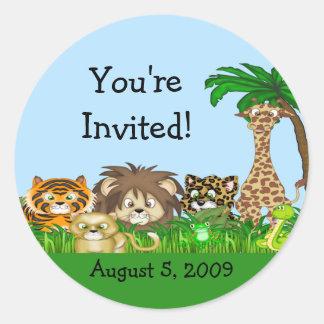 You're Invited! Jungel Baby Shower Classic Round Sticker