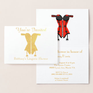 You're Invited Lingerie Bridal Shower Foil Card