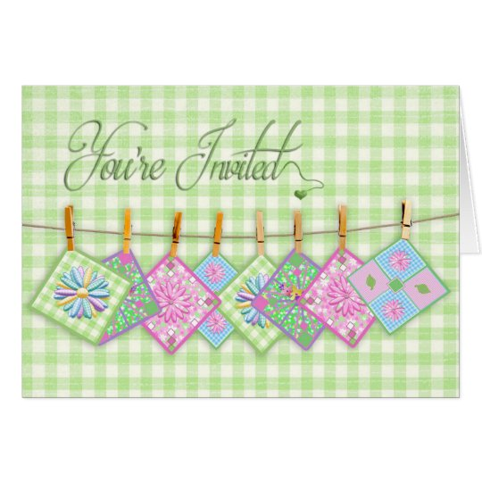 You're Invited - Quilt Squares - Clothesline - Card