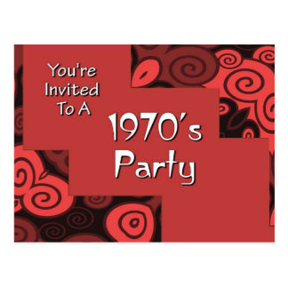 You're Invited To A 1970's Party Postcard