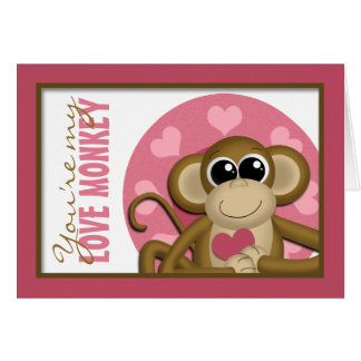 You're My Love Monkey - Cute Pink Greeting Card