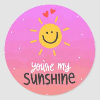 You're my sunshine funny doodle classic round sticker