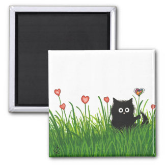 You're One of a Kind Valentine Fuzzy Cat by Bihrle Square Magnet
