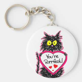"""You're Purrfect"" Tuff Kitty Cat  with Heart Keychain"