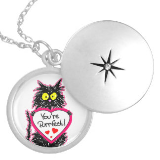 """""""You're Purrfect"""" Tuff Kitty Cat  with Heart Silver Plated Necklace"""