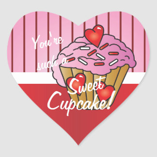 You're such a SWEET Cupcake Valentine Heart Sticker