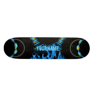Yourname Blue Flames Whirl Skate Board