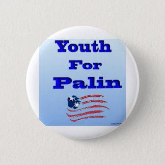 Youth for Palin Logo with Flag Below (good) 2 Inch Round Button