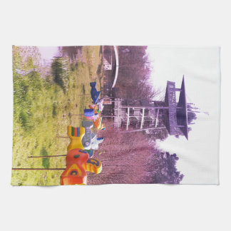 youth park wooden tower and flying wooden fishes kitchen towel