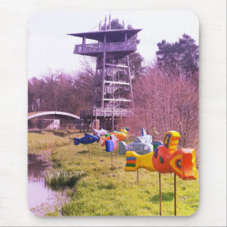 youth park wooden tower and flying wooden fishes mouse pad