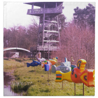 youth park wooden tower and flying wooden fishes napkin