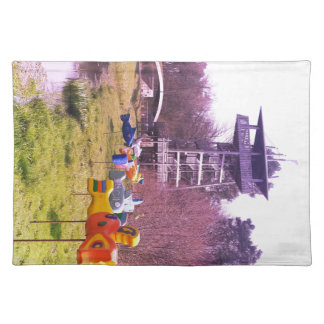 youth park wooden tower and flying wooden fishes placemat