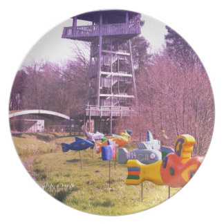 youth park wooden tower and flying wooden fishes plate
