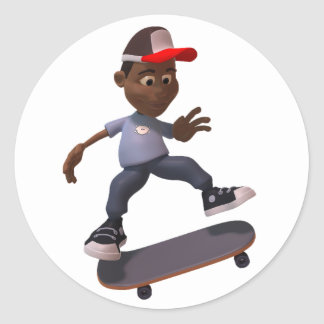 Youth Riding A Skateboard Stickers