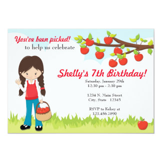 You've Been Picked Apples Girls Party Invitation