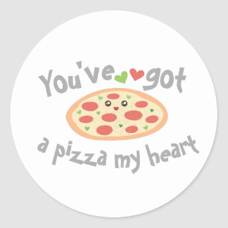 You've Got a Pizza My Heart Funny Punny Food Humor Classic Round Sticker