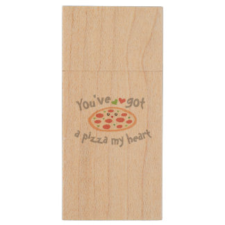 You've Got a Pizza My Heart Funny Punny Food Humor Wood USB Flash Drive