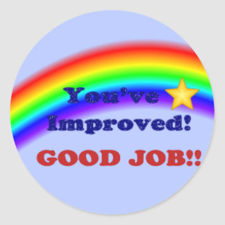 You've Improved! Rainbow Sticker, small Classic Round Sticker