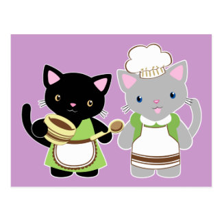 Yoyo and Suki Neko baking kitties Postcard