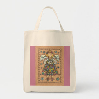 YoYo Quilt Angel GROCERY TOTE
