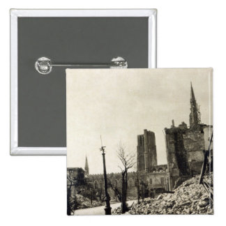 Ypres from Rue de Ville, June 1915 2 Inch Square Button