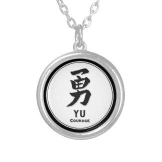 YU courage bushido virtue samurai kanji Silver Plated Necklace