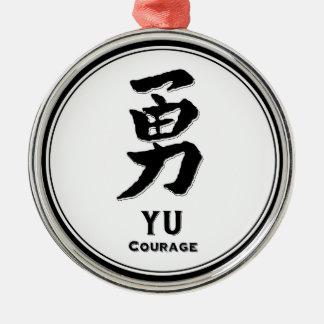 YU courage virtue samurai kanji Round Metal Christmas Ornament