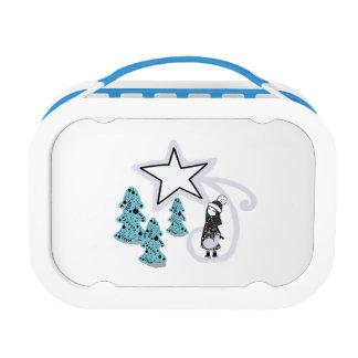 Yubo Lunchbox, Blue Scandi winter design Lunch Box