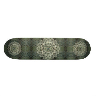 Yucca Mandala on Green Frond Pattern Custom Skateboard