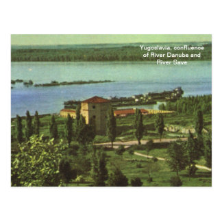 Yugoslavia, confluence of River Danube, River Save Postcard
