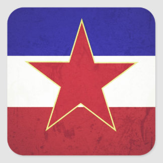 Yugoslavia flag square sticker