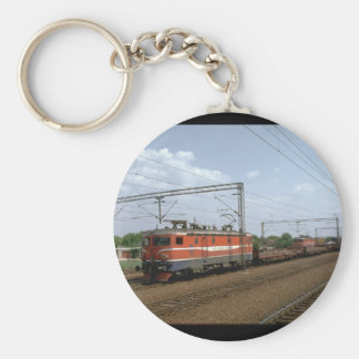 Yugoslavia, JZ electric loco_Trains of the World Basic Round Button Keychain