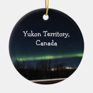 Yukon Aurora Borealis; Yukon Territory Souvenir Round Ceramic Ornament