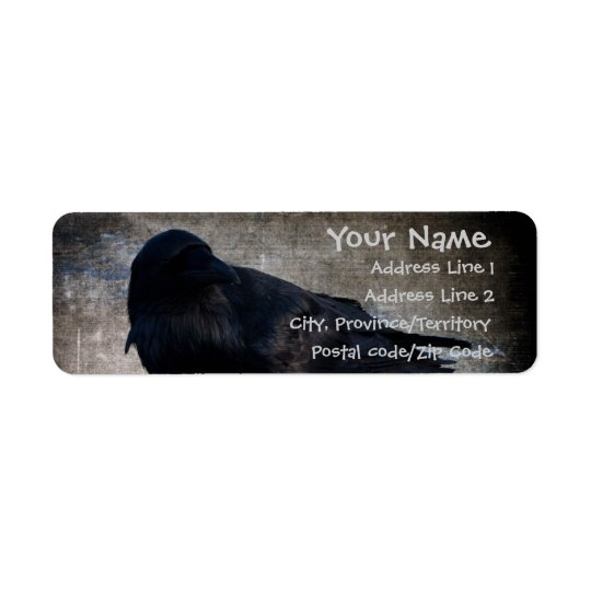 Yukon Raven Grunge Return Address Label