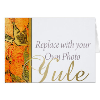 Yule Gold Faux Embossed Poinsettia & Family Photo Card