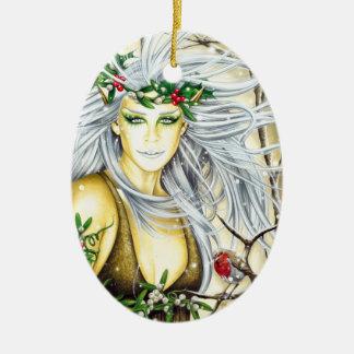 Yule Snow Goddess Ceramic Ornament