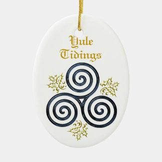 Yule Tidings Blue Triple Spiral & Holly Ceramic Ornament