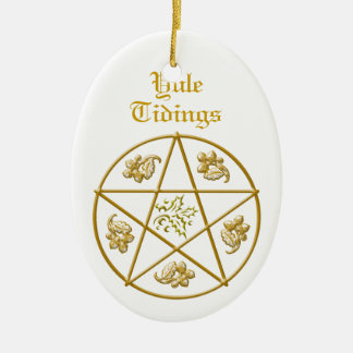 Yule Tidings Gold Pentacle, Holly & Oak Ceramic Oval Ornament