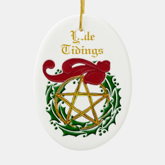 Yule Tidings Pentacle & Wreath 2 Ceramic Oval Ornament