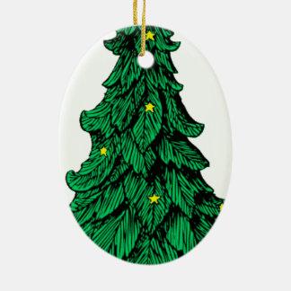 Yule Tree Ceramic Oval Ornament
