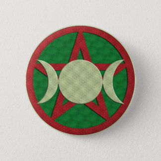 Yule Triple Goddess Pentagram 2 Inch Round Button
