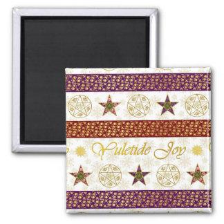Yuletide Joy & Pentagrams 8 - Square Magnet