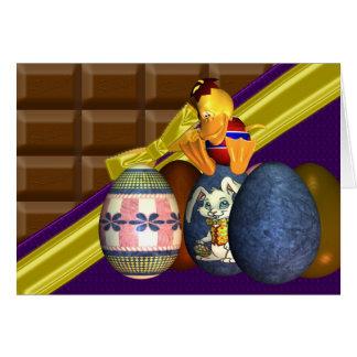 Yum barre de chocolat avec l'emballage, et le carte de vœux